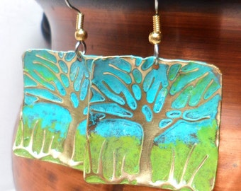 Metal Earrings Embossed Brass With Tree and  Spring or Summer Sky and grass Blue and Green.
