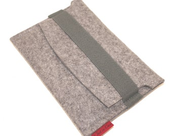 Kindle, e-Reader  Sleeve/Case Wool Felt with Elastic Trim Side Load in Granite