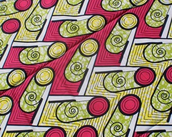 "Pinball Wizard / BATIK Ankara, African wax print fabric  / Red, Yellow, Green / 1 yard x 46"" / Tribal Traditional African Fashion Supplies"