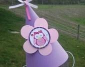 Owl Party Hat, Birthday Hat, Owl Birthday, 1st Birthday, 1st Birthday Hat, Photo Prop, Birthday Girl, Personalized, Owl Blossom, Cake Smash