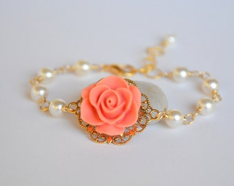 Coral Rose Bracelet with Ivory Swarovski Pearls in Gold.  Bridal Party Bracelet. Wedding Jewelry. Jewelry Gift for Her.  .