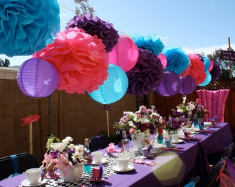 10 Tissue Paper Pom Poms - Mad Hatter Tea Party Decorations - Your Color Choice- SALE