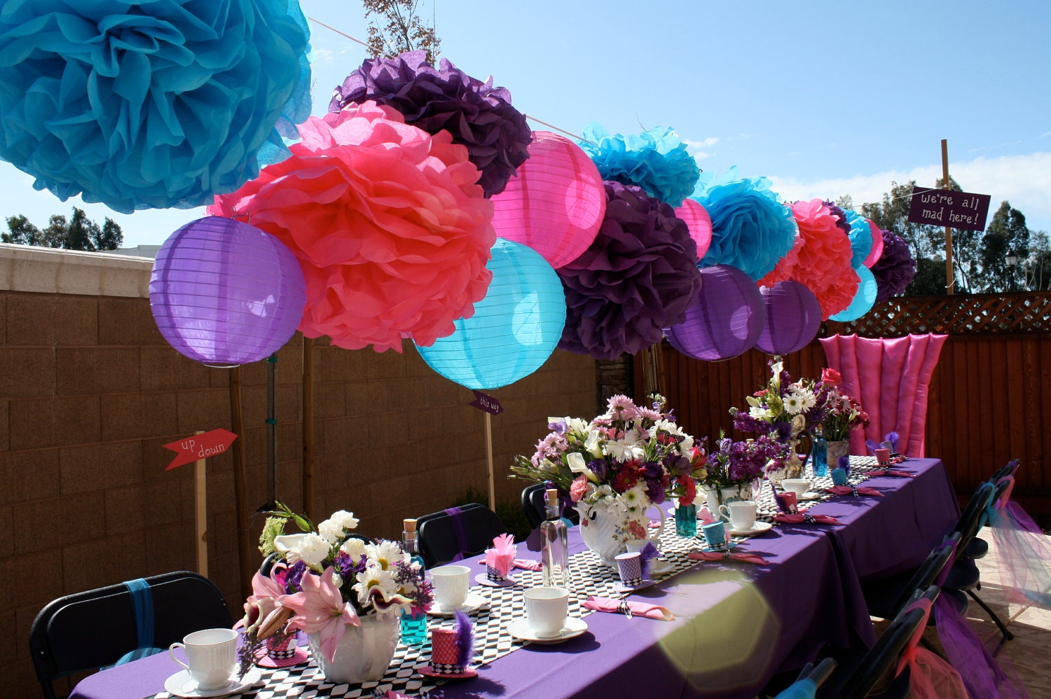 10 tissue paper pom poms mad hatter tea party decorations. Black Bedroom Furniture Sets. Home Design Ideas