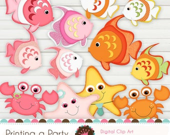 "Digital Clip Art Set ""Fish Island"" with glitter borders on all the images and 3D effects.  Personal and Small Commercial Use."