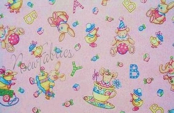 Mary engelbreit fabric vintage toys baby nursery cuties on for Retro baby fabric