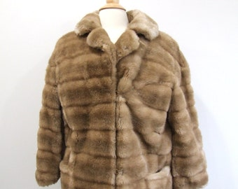 1980s Fur Coat Vintage 80s Tan Faux Fur Jacket - L