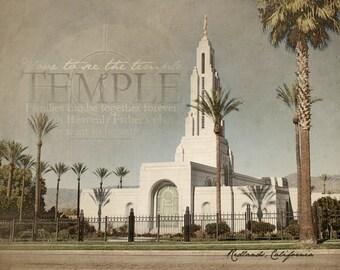 Redlands, California LDS Temple Print 16x20