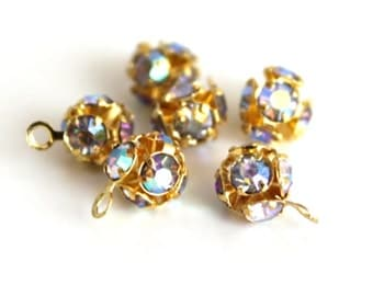 6pcs Clear Crystal Rhinestone Golden Round Pendant Tiny Charms - 6mm.