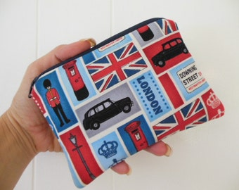 Small zipper Coin/gadget/accessory pouch-London Blocks-Ready to ship
