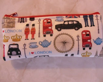 Discontinued fabric-London Blocks Pencil Case/cosmetic pouch