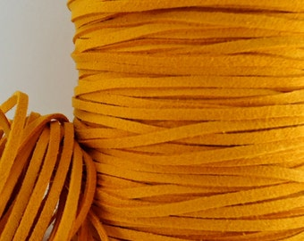 6yds Jewelry Cord Imitation Suede leather Micro Fiber Mustard Yellow faux Cord Lace 3mm x 1.5mm