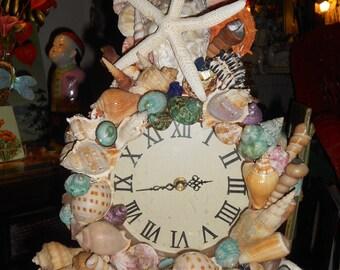 Shell clock Handmade lots of sea shells clock