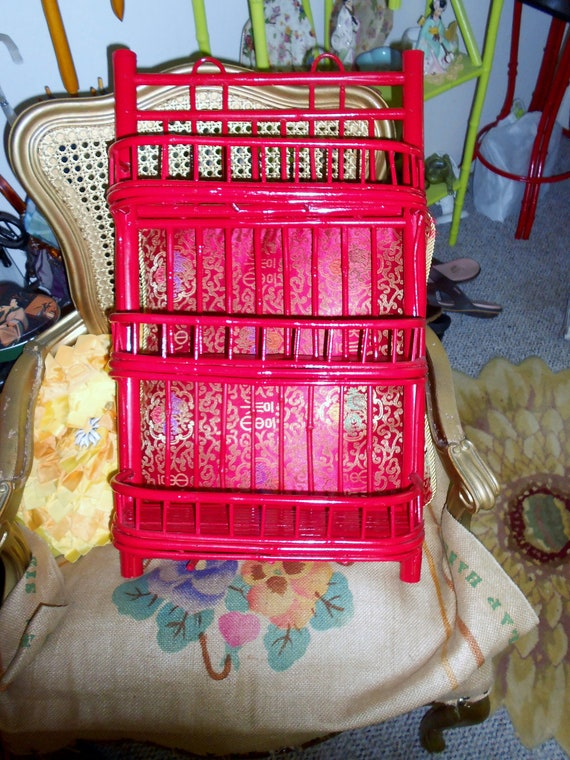 Hollywood regency Vintage Chinoiserie red bamboo wall shelf Hollywood
