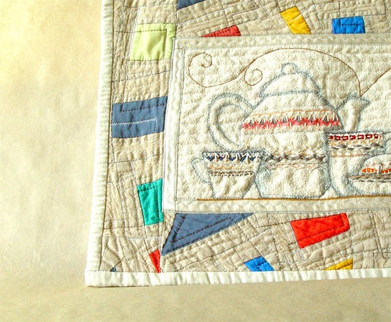 White Pottery Art Quilt, Wall Decor, Fiberart Embroidery, Cotton Silk