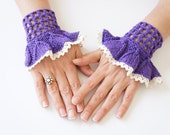 FINGERLESS // purple handmade cuffs - handmade