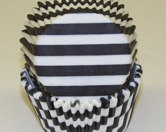 Black and White Stripe Cupcake Liners, Black Stripe Baking Cups, Wedding, Graduation, Birthday Black and White Stripe Cupcake Liners - 100