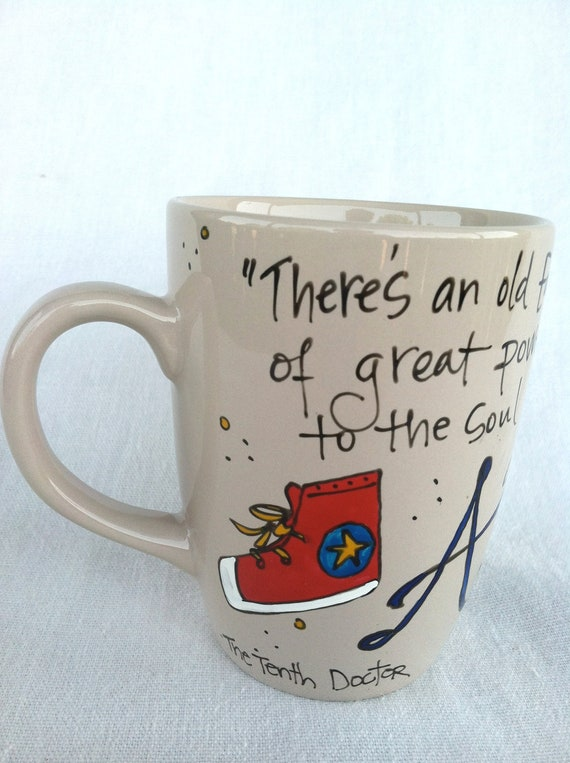 """Doctor Who """"Allons-y"""" Hand-Painted Quote Mug - Tenth Doctor quote with Converse Shoe - Medium pale toffee mug"""