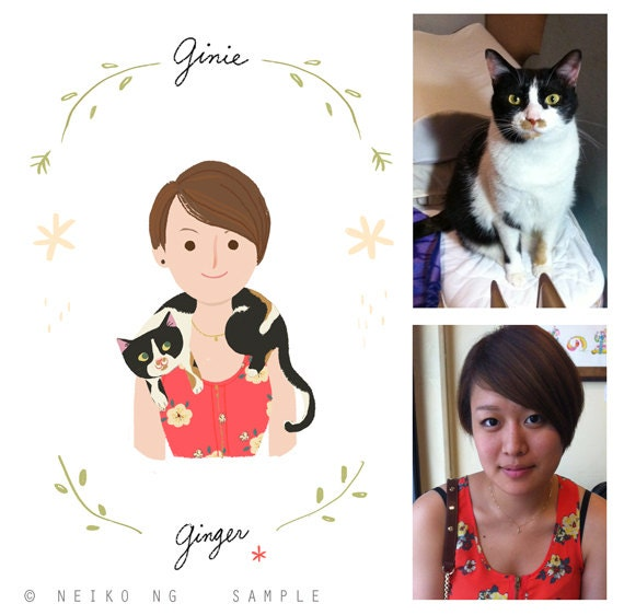 Custom Portraits, You and your pet together- Pet owner and Pet portrait