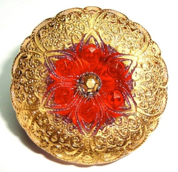 """27mm /1"""" Lacey Red/Gold Czech Glass Button-Gold Accents-Red Flower"""