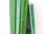 Vintage Green Book Collection (4) For Home Decor, Home Staging and Photo Shoots
