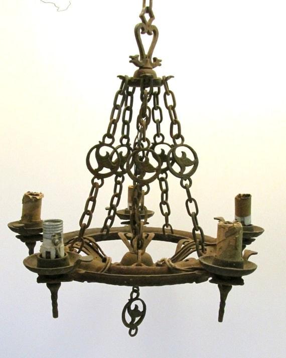 Antique Virden 5 Light 39 Dogs Head 39 Tudor Cast Iron Art