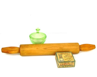 Vintage Wood Rolling Pin Mid century extra long wooden rolling pin Pastry chef dough Kitchen tools