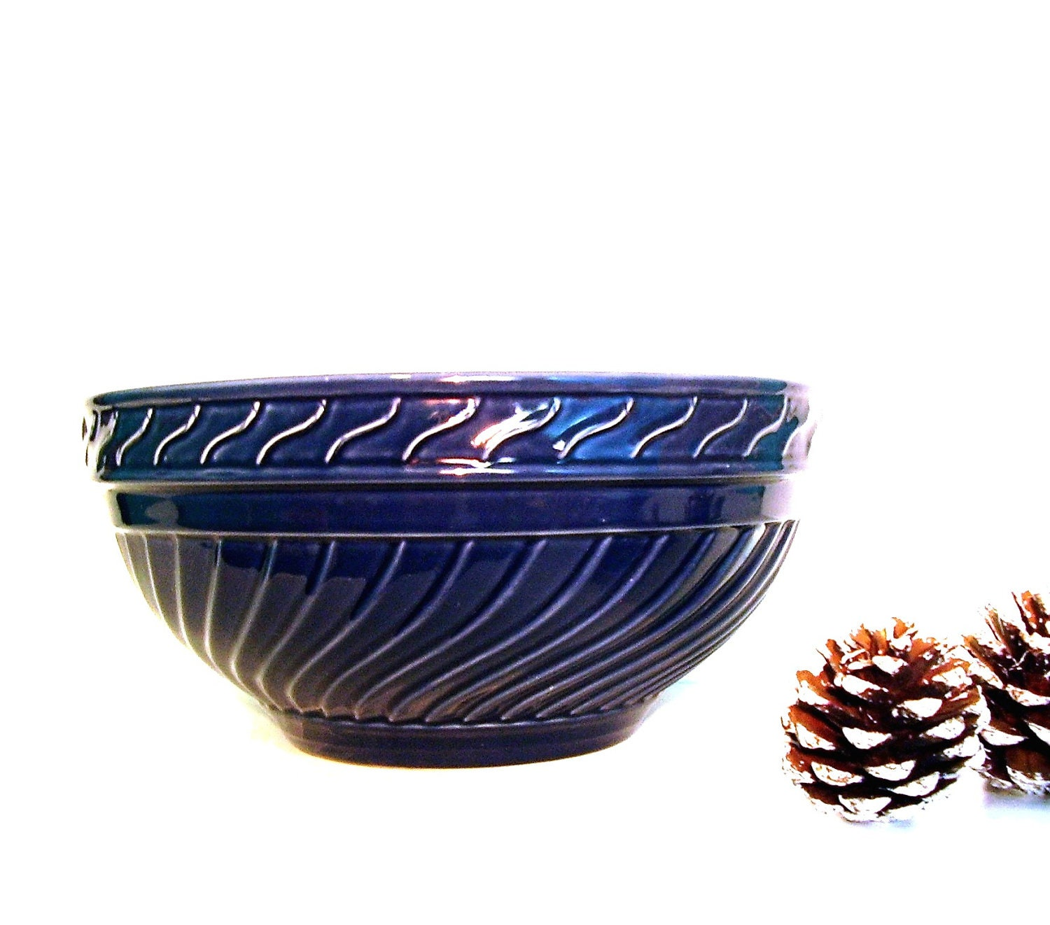 Vintage Mixing Bowl Navy Blue Pottery Large Farmhouse Style