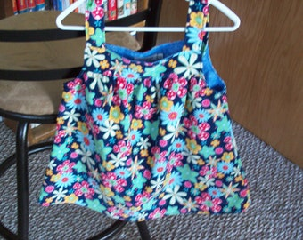 Toddler Top Corduroy Floral Print  on Navy Blue--Last one Size 3T, Clearance Sale