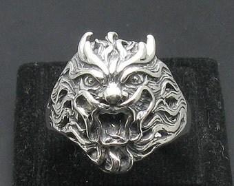 R000995 STERLING SILVER Biker Ring Solid 925 Demon Devil