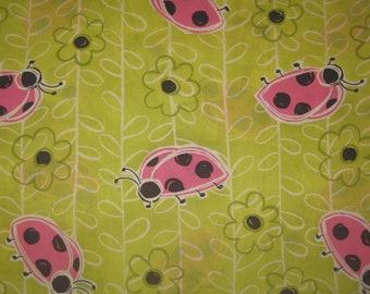 JoAnn Fabrics Pink Ladybugs on lime green Fabric 1 Yard