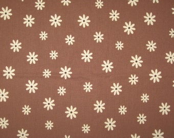 Timeless Treasures white and brown floral Fabric 1 Yard