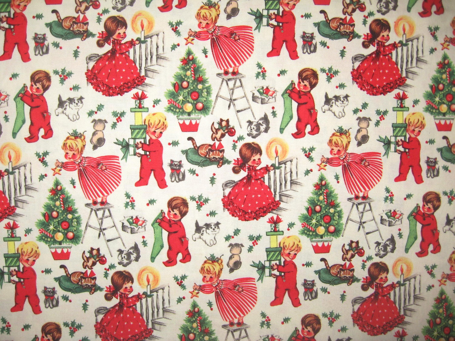 Michael miller christmas eve vintage christmas children 1 yard for Vintage childrens fabric by the yard