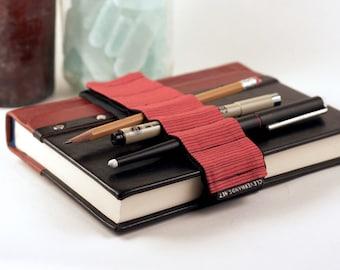 Adjustable Velcro Bandolier // red stripes // (a better pencil case, journal pen holder, book strap, pen loop, pencil roll, pen bandolier)