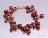 Beaded Pearl Bracelet - Deep Red Faceted Pearls and Garnets- Pearl and Garnet Bracelet