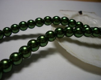 Glass beads, 6mm green glass beads, dark green, 80 pearl beads, 6mm round beads, round, green, pearls, beads, 6mm beads, special offer