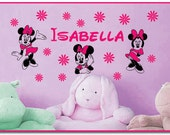 Personalized Name and MINNIE MOUSE and Flowers Vinyl Wall Decals Art Stickers for Kids Nursery