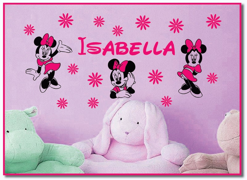 personalized name and minnie mouse and flowers vinyl wall