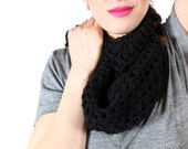 black cowl scarf, crocheted lace, handmade from 100 percent wool