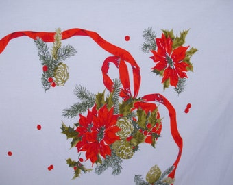 Christmas Tablecloth Pine Cones Holly Berries Poinsettias Ribbon Tablecloth Vintage Christmas Red Green