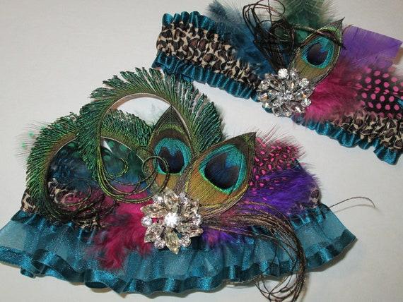 Peacock Wedding Garter Set, Leopard Garters, Deep Teal Garter for Masquerade Ball, Peacock Prom Garter, Teal Prom Garters