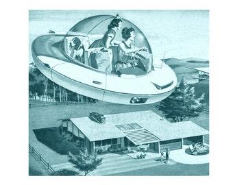 Mid century modern, flying saucer, retro, 1950s, atomic, mad men, eames era, 8X8 print