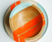"Modern Neon Hardwood 7"" Salad Bowl, Electric Orange - nicoleporterdesign"