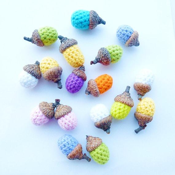 Crochet Acorns - Rainbow collection