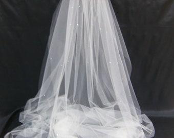 Bridal Veil Swarovski Crystal Rhinestone Sheer 90 Inch Long Chapel Length Wedding Veil with Blusher