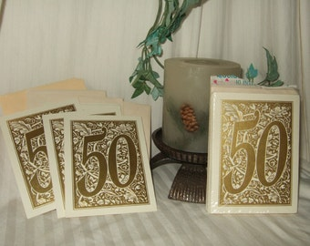 vintage invitation Carlton Cards 50th anniversary golden wedding anniversary party invitations New old stock gold and ivory and gold