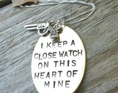 Mother's Day Necklace, i keep a close watch on this heart of mine, johnny cash necklace, johnny cash, necklace, Mothers Day, keep a close