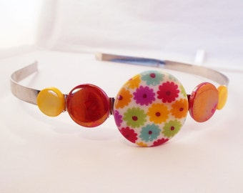 Colorblock Headband - May Flowers - printed mother of pearl,  metal headband for girls, teens and women by reynared