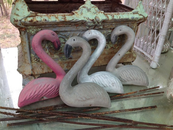 This Petite Vintage Yard Art Concrete Flamingo Is Sweet Its