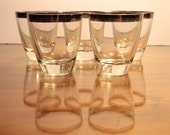 1960's Set of Five Mad Men Lowball Rocks Cocktail Glasses with Silver Rim