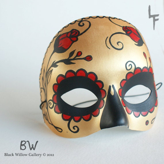 Gold Red Roses Sugar Skull Day of the Dead Hand painted Mask Original